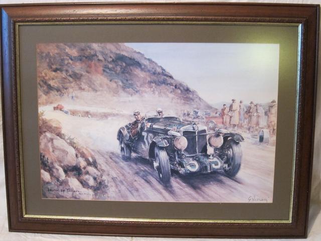 Three framed MG prints,