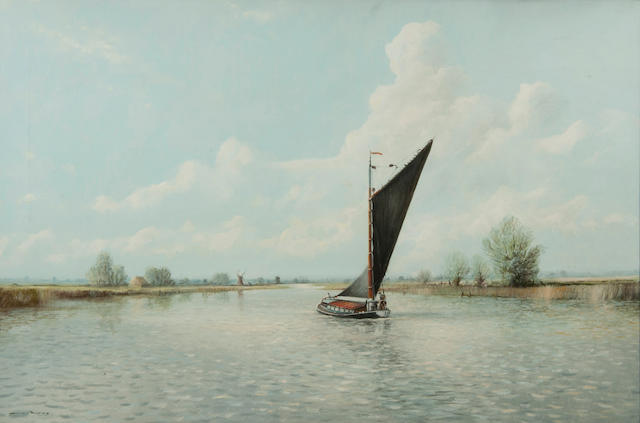 Colin W. Burns (British, born 1944) Wherry on the broads