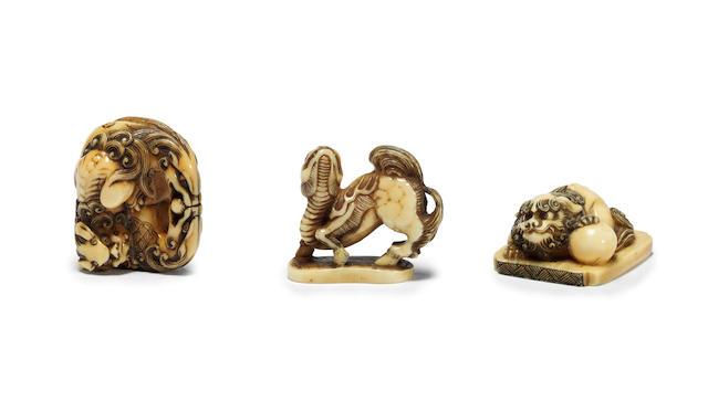 Three ivory netsuke of mythical animals 19th century