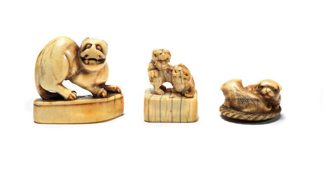 Three ivory animal netsuke Early 18th to early 19th century
