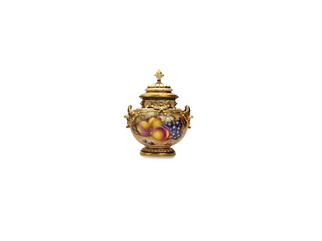 A Royal Worcester fruit-painted pot pourri vase and cover by Harry Ayrton, post 1950