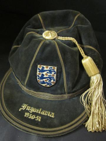 1950/51 England international cap v Yugoslavia awarded to Nat Lofthouse
