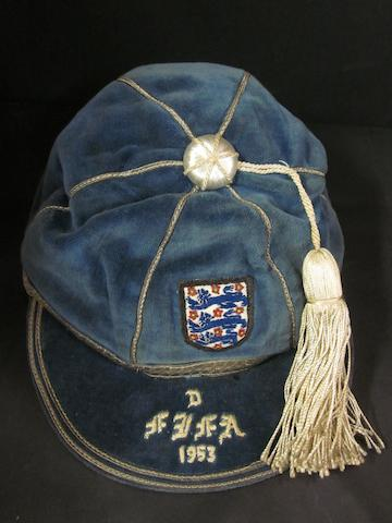 A 1953 England international Cap v F.I.F.A. awarded to Nat Lofthouse