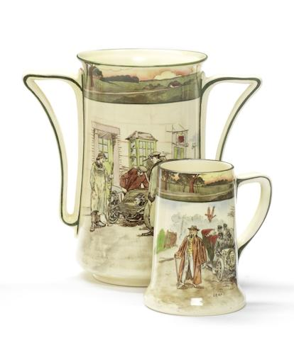 A Royal Doulton 'Series Ware' ceramic motoring vase and tankard, by George Holdcroft, circa 1904,
