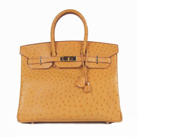A Hermès tan ostrich Birkin bag, 2002