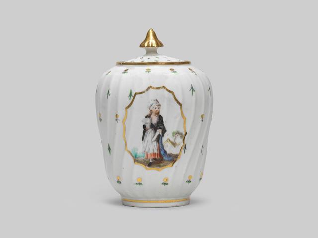An important Caughley tea canister and cover by Fidelle Duvivier, circa 1792