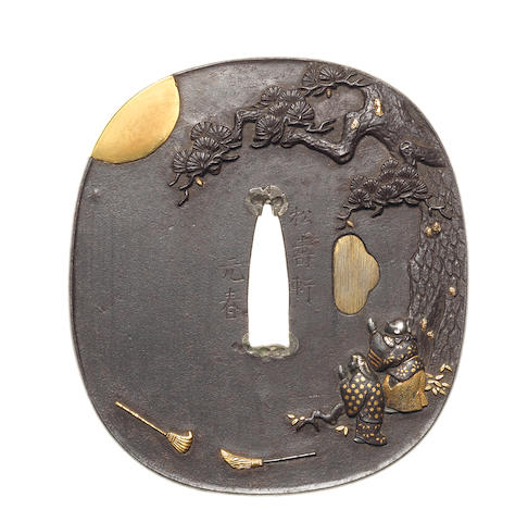 An iron kinko tsuba By Shojuken Motoharu, late 18th/early 19th century
