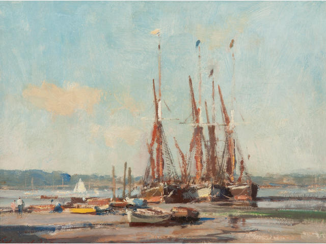 Edward Seago R.W.S. (British, 1910-1974) Boats on the hard, Pin Mill