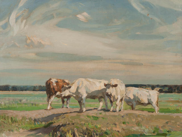 Sir John Alfred Arnesby Brown (British, 1866-1955) Cattle resting