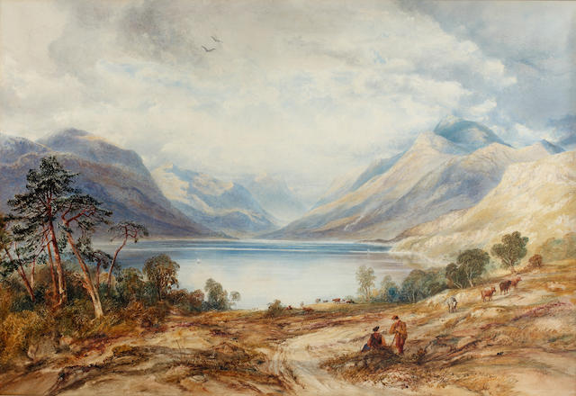 Anthony Vandyke Copley Fielding, P.O.W.S. (British, 1787-1855) Loch Lomond,with figures and cattle in the foreground, Ben Lomond beyond