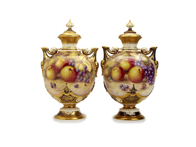 A pair of Royal Worcester fruit-painted vases by Harry Ayrton, post 1950