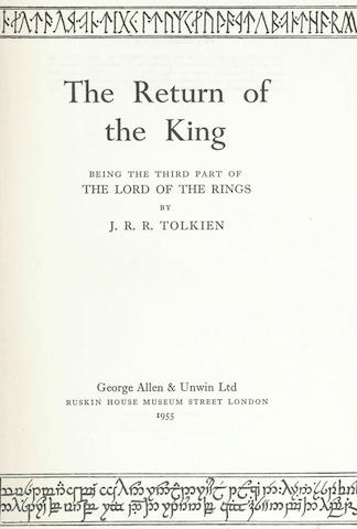 TOLKIEN (J.R.R.) The Lord of the Rings, 3 vol., FIRST EDITIONS, 1954-55
