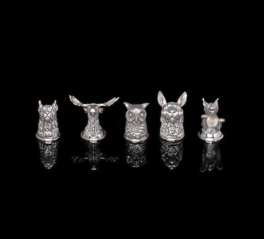A group of five silver stirrup cups  by Nichols & Plincke, maker's initials PK, St. Petersburg circa 1880