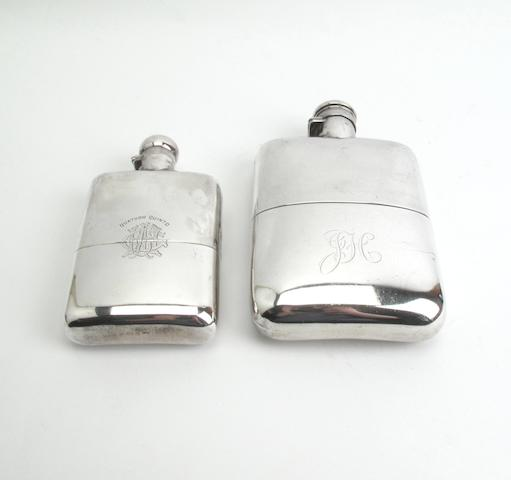 Two silver spirit flasks