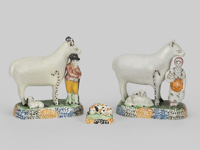 Two Yorkshire Pratt Ware sheep groups and a model of a dog, circa 1820