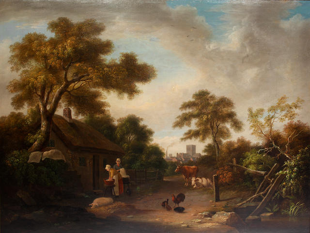English School, late 18th Century Two washerwomen before a thatched cottage on the outskirts of a country town