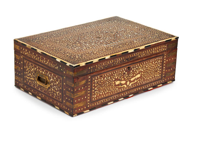 An ebony and ivory inlaid sewing box