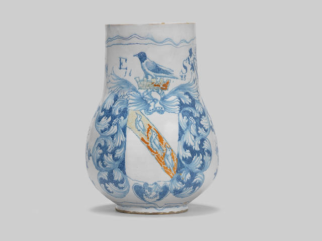 An important London armorial delftware mug, probably Southwark, dated 1683