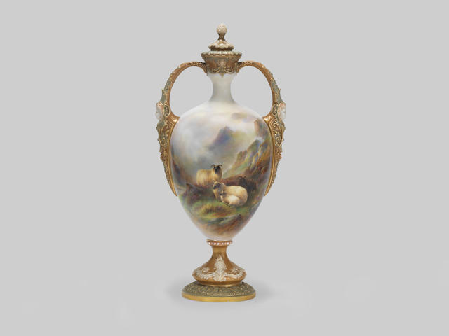 A large Royal Worcester vase and cover by Harry Davis, dated 1910