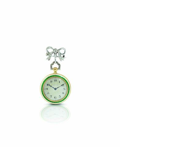 Cartier. A rare and fine 18ct gold, enamel and diamond set keyless wind open face pocket watchCase No.7858, Circa 1920