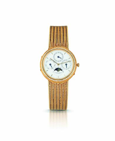Audemars Piguet. A fine and rare 18ct gold and diamond set perpetual calendar automatic bracelet watch with moon phasesQuantième Perpétuel Automatique, Ref:B45969, Case No.317, Circa 1980