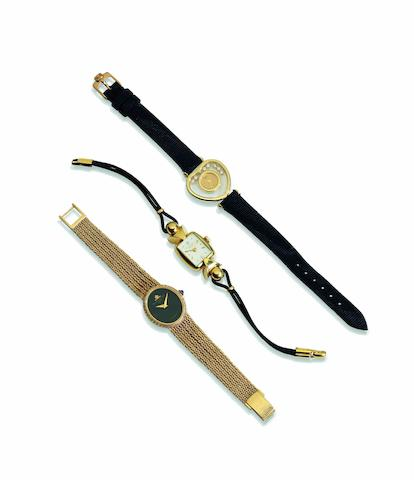 Baume & Mercier. A fine 18ct gold, onyx and diamond set lady's manual wind bracelet watch Ref:38232-50, Case No.874700, Sold in July 1980