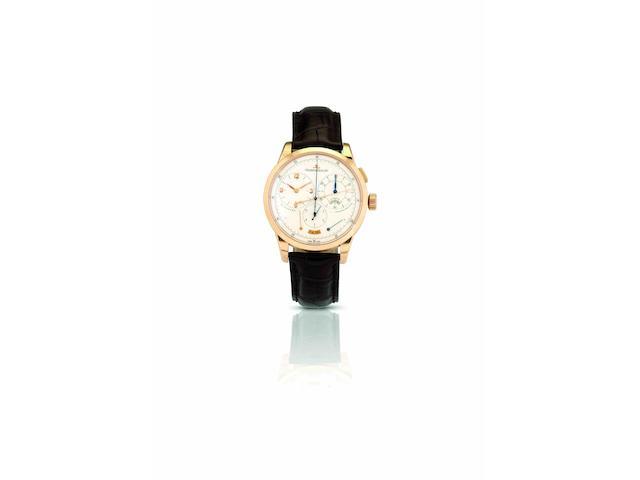 Jaeger-LeCoutre. A fine and rare 18ct rose gold chronograph manual wind wristwatchDuomètre à Chronographe, Ref:600.2.28.S, Case No.2460055, Movement No.3493453, Circa 2008