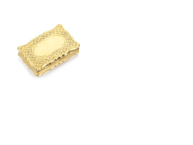 A very fine and rare gold rectangular snuff box and cover Daoguang, circa 1830-40, Chinese and English maker's marks KHC for Khecheong, Canton