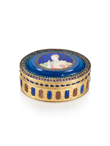 A fine and very rare embellished gilt-bronze and famille rose blue-ground enamel 'European lady' oval snuff box Qianlong, circa 1760-1780