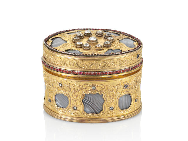 A fine and rare embellished gilt-copper and agate two-tiered oval box and cover Qianlong