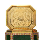 A very fine embellished gilt-bronze, jadeite and glass oblong octagonal cage-mounted snuff box and cover Qianlong, circa 1750