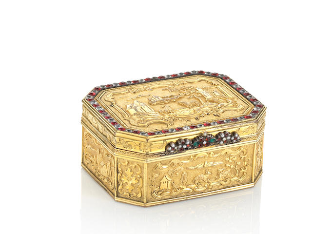 A very fine and rare embellished gilt-bronze oblong octagonal 'European landscape' snuff box and cover Qianlong, circa 1740-1760
