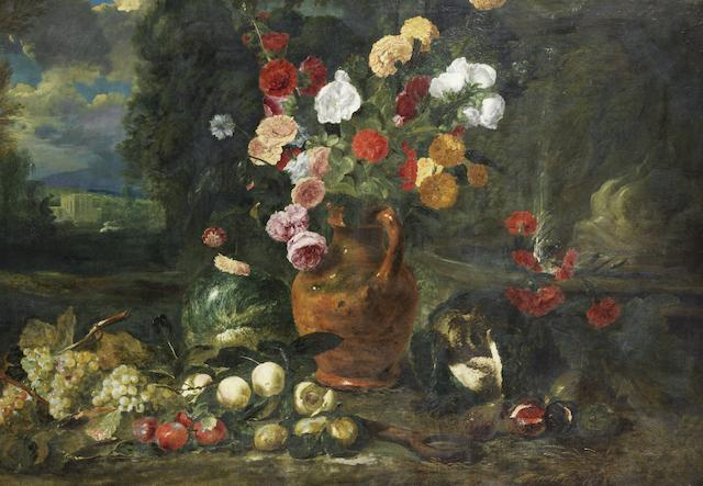 Attributed to Jan Fyt (Antwerp 1611-1661) Roses, hollyhocks, marigolds and other flowers in a terracotta vase with grapes, plums, peaches and a split melon before an open landscape