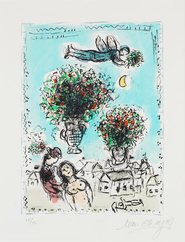 Marc Chagall (Russian/French, 1887-1985) Bouquets with a blue sky Lithograph printed in colours, 1984, on Arches, signed and numbered 25/50 in pencil, published by Mourlot, Paris, with margins, 320 x 240mm (12 1/2 x 9 3/8in)(I)