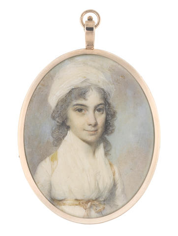 George Engleheart (British, 1750-1829) The Hon. Diana Biddulph, wearing white dress and fichu secured with yellow sash ribbon tied at her waist, her hair lightly powdered and falling behind her shoulders beneath a white turban