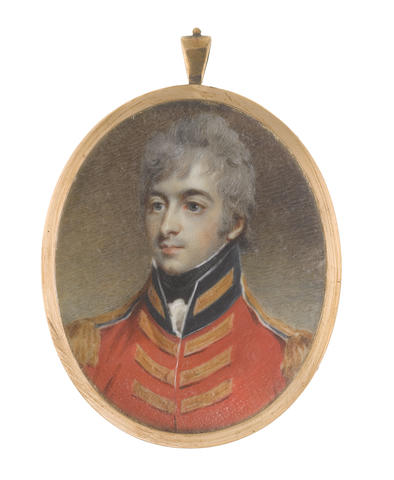 English School, circa 1805 Lieutenant-Colonel Godfrey Basil Mundy (c.1780-1848) of the 3rd (King's Own) Dragoons, wearing scarlet coat with dark blue standing collar, gold lace and epaulettes, white frilled chemise and black stock, his hair cropped and powdered