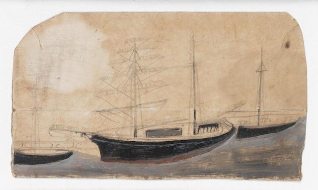 Alfred Wallis (British, 1855-1942) Three ships 11.6 x 21.5 cm. (4 1/2 x 8 1/2 in.)