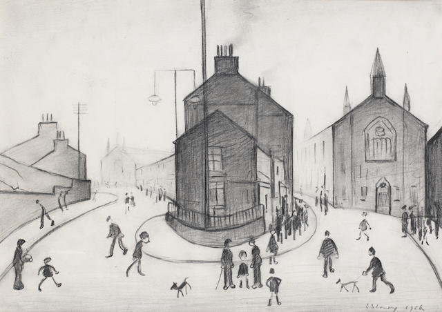 Laurence Stephen Lowry R.A. (British, 1887-1976) Clitheroe 25.4 x 35.6 cm. (10 x 14 in.)