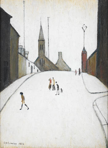 Laurence Stephen Lowry R.A. (British, 1887-1976) Church Street, Clitheroe 40.9 x 30.8 cm. (16 1/8 x 12 1/8 in.)