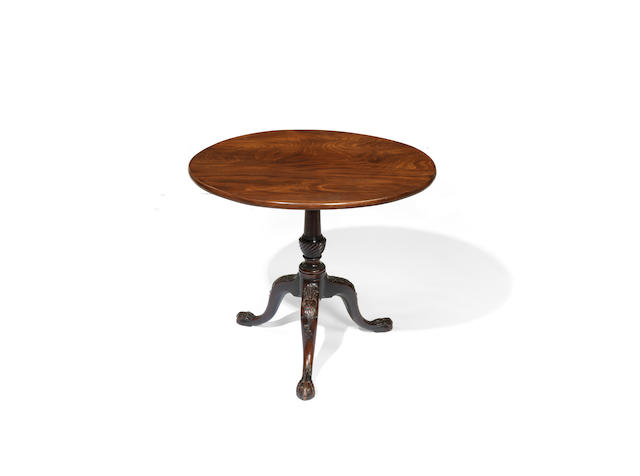 A George III carved mahogany tripod table