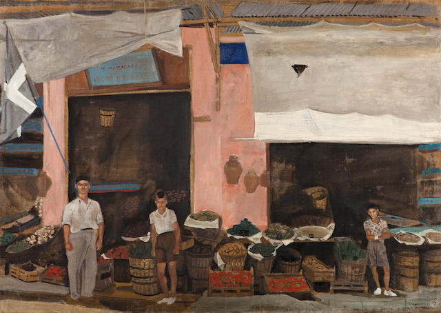 Yiannis Tsarouchis (Greek, 1910-1989) At the grocer's 71 x 100 cm.