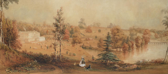 George Sidney Shepherd (British, 1784-1862) A panorama of a country house and estate