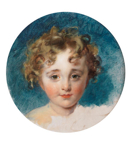 Sir Thomas Lawrence P.R.A. (Bristol 1769-1830 London) Portrait of The Hon. George Fane (1819-1848), later Lord Burghersh, when a boy 34.5cm (13 9/16 in) diameter