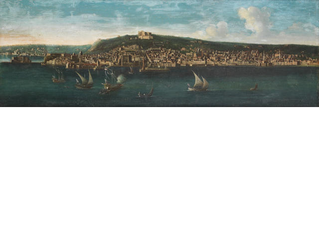Attributed to Tommaso Ruiz (active Naples mid 18th Century) A view of Naples with the Castel dell'Ovo and the Castel Nuovo,