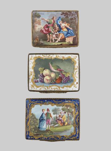 Three Birmingham or South Staffordshire enamel snuff boxes, circa 1755-65