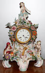 A 19th Century style Dresden porcelain cased French mantel clock,