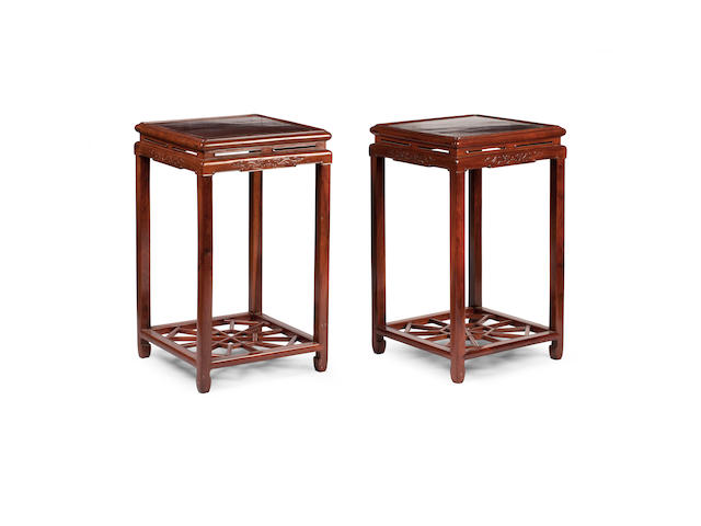 A pair of fine hunghuali plant pedestals  19th century