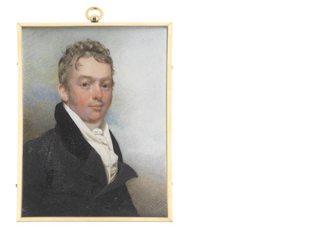 Andrew Robertson, MA (Scottish, 1772-1845) A Gentleman of the Harwood family, wearing dark grey coat with black collar, white waistcoat, frilled chemise, stock and cravat