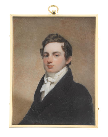 Andrew Robertson, MA (Scottish, 1772-1845) A Young Gentleman of the Harwood family, wearing dark blue coat, white waistcoat, chemise, stock and tied cravat