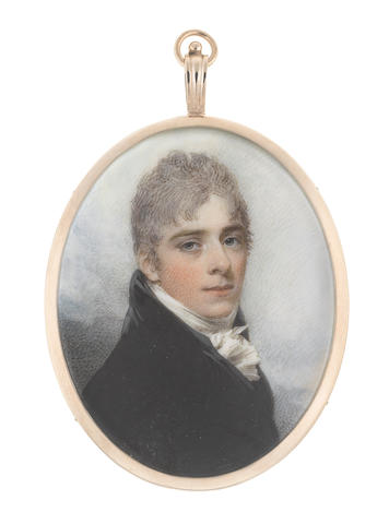 William Wood (British, 1769-1810) A Young Gentleman, wearing black coat and waistcoat, white frilled chemise and tied stock, his cropped hair lightly powdered